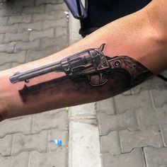 No.232 Tattoo Studio® İletişim; DM 05446238095 #No.232_tattoo #tattoo #dovmesana... - Tattoo Studio, Hand Guns, Tattoos, Firearms, Pistols, Tatuajes, Tattoo, Tattos, Tattoo Designs