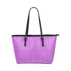 purple pokadots Leather Tote Bag/Large (Model 1651)