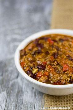 Un bol de chili con carne sans agrements