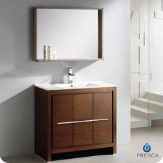 "Allier 36"" Single Modern Bathroom Vanity Set with Mirror"