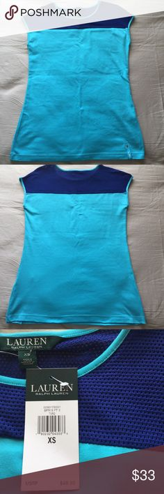 "LAUREN RALPH LAUREN Women's Active Sleeveless Top New with retail Tag $49.50. Size XS, Color Turquoise/Blue. Measures ( lying flat unstretched) 17"" across the chest armpit to armpit, 26.5"" Total length. 94% Cotton, 6% Elastane. CONDITION: Item may have been tried on by customers in store. Item color appearance may vary slightly depending on lightning, camera flash, etc. from provided picture(s).  NOTE: keep in mind each product style may fit differently. Lauren Ralph Lauren Tops Muscle Tees"