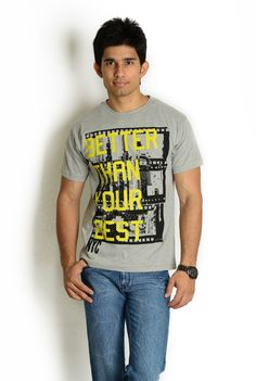 5th outfit is:- Grey T-Shirt with Graphic Word Print | Globus Stores Pvt. Ltd.