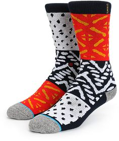 Get plush comfort with a terry looped combed cotton construction with medium cushioning and a unique multicolor and multi-print design for wild style.