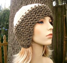 Hand Knit Hat Womens Hat  Two Tone Helmet in Cream by pixiebell, $40.00