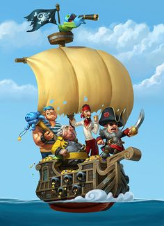 """Pirates of the High Fees"" Campaign for WorldFirst Bank on Behance Pirate Games, Pirate Art, Pirate Theme, Game Character Design, Character Art, Pirate Ship Drawing, Pirate Cartoon, The Pirates, Pirate Treasure Maps"