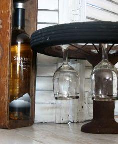 bike wheel wine glass holder