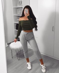 What do you love about this look? Lazy Day Outfits, Crop Top Outfits, Summer Fashion Outfits, Cute Summer Outfits, Cute Casual Outfits, Girl Outfits, School Outfits, Stylish Outfits, Mode Kpop