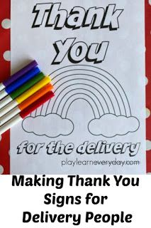 Free signs to print out and colour in and put up in your window to thank all of the delivery people during self isolation / social distancing during this time. Childcare Activities, Educational Activities, Thank You Sign, Simple Signs, Free Sign, Make An Effort, Home Learning, Business For Kids, Design Your Own