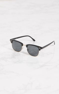 Lunettes de soleil noires style aviateur à demi monture. Accessoires  PrettyLittleThing.fr c9d46b0b6cce