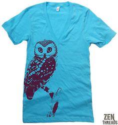 American Apparel Unisex OWL Deep V Neck Tee shirt XS-ML on shopstyle.com