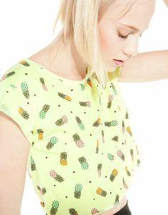 Bershka United Kingdom -BSK cropped pineapple T-shirt