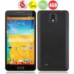$114.84    N8000 Quad Core 3G Smartphone w/ MTK6582 1.3GHz 5.5 Inch 1GB 4GB Dual SIM Bluetooth GPS OTG Gesture Sensing - Black