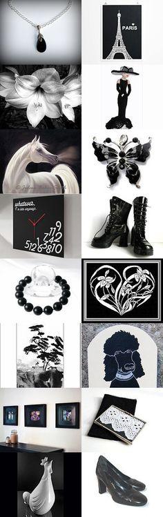Gift ideas in Black & White ¸•`¯¨˜'*•~-.ஐ .ஐ by Nancy Ottati from RevesCreazioni  on Etsy--Pinned with TreasuryPin.com