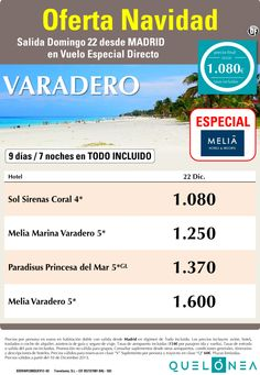 Oferta Navidad a Varadero especial Melia Hotels&Ressorts desde 1080 €. Salidas 22 Diciembre ultimo minuto - http://zocotours.com/oferta-navidad-a-varadero-especial-melia-hotelsressorts-desde-1080-e-salidas-22-diciembre-ultimo-minuto/
