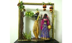Krishna and Radha art decor Recycled Paper Crafts, Paper Crafts Origami, Diy Crafts For Home Decor, Diy Crafts Hacks, Art N Craft, Diy Art, Janmashtami Decoration, Craft From Waste Material, African Dolls