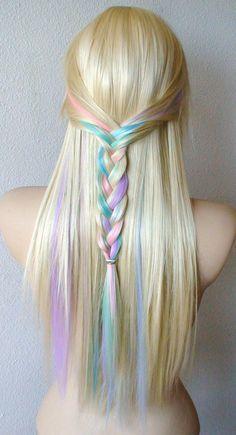 rainbow pastel hair tips for dark brown - Google Search