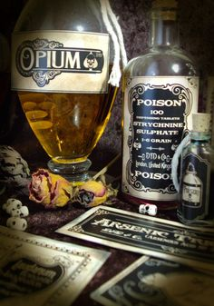 Halloween Apothecary Victorian Poison Labels by damnfrenchdesserts