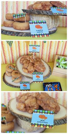 DIY Fall Wood Slice Dessert Stand Tutorial - A lovely and easy way to display fall or Halloween treats for an Autumn Party! Dessert labels, banner and owl cookies - Pumpkin Patch party collection