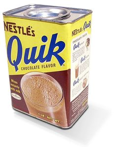 Early advertisement of Nestle Quik next to a picture of Nestle Quik chocolate…