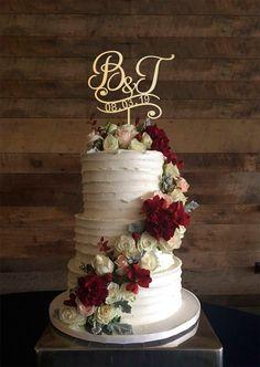 m cake topper wedding cake topper cake toppers for wedding rustic cake topper initial cake topper monogram cake cake topper m wedding cakes Rustic Wedding Cake Toppers, Floral Wedding Cakes, Fall Wedding Cakes, Wedding Cake Designs, Wedding Rustic, Elegant Wedding, Floral Cake, Romantic Wedding Cakes, Purple Wedding