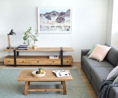 Phoenix Reclaimed Lowline Entertainment TV Unit - 2.2m, Canova Reclaimed Coffee Table, Vera 4 Seater Sofa With Chaise - Steel Grey, Faded Hillside Wall Art Print. Interior Secrets