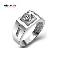 Uloveido masculino homem anel de noivado do casamento de prata banhado anéis dos homens para homens jóias anel bague 2017 venda de moda presentes j473(China (Mainland))