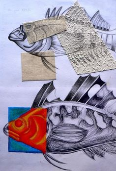 Sketchbook ideas: mixed media (textured wallpaper cuttings) integrated within drawings.