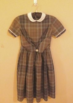 1950s Vintage new/oldstock little girls plaid school dress