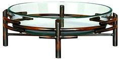 Deco 79 Glass Bowl Metal Stand, 18 by 6-Inch Deco 79