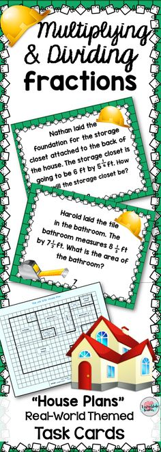"""Get your 4th or 5th grade students engaged and constructing a house with these real world themed """"House Plan"""" Multiplying and Dividing fractions (by fractions and by whole numbers) task cards. Your students will multiply and divide fractions to solve word problems related to the area of different spaces in the house. Print as worksheets or use as task cards. Put these in a station or center for extra practice! Extension activities are included! Common Core aligned. Fun Math, Math Games, Math Activities, Math 8, Fraction Activities, Dividing Fractions, Math Fractions, Equivalent Fractions, Multiplication"""