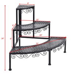 Corner Metal Flower Ladder Plant Stand Material Steel Color Black Overall dimension 24 x 24 x 236 L x W x H Product weight 1367 lbs Metal Plant Stand, Diy Plant Stand, House Plants Decor, Plant Decor, Iron Plant, Flower Stands, Plant Shelves, Iron Decor, Metal Flowers