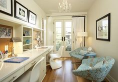 Blue Girls Lounge Eclectic Home Office - Mineapolis
