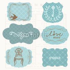 Vecteur : Vintage Design elements for scrapbook - Old tags and frames