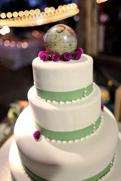 Love this! Simple cake and just a cool topper. could be a globe with two little people standing on it (us!)