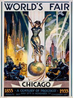 Art-Deco Poster from Chicago World's Fair, Century of Progress Exposition, 1933.
