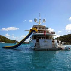 What Fun!! I can see myself playing on this with my grandkids!  Inflatable Yacht Water Slide by Freestyle Cruiser