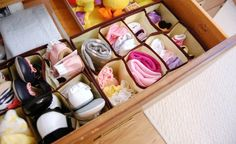 Organizing Dresser Drawers - 150 Dollar Store Organizing Ideas and Projects for the Entire Home - Diy Home Decor Dollar Store Dresser Drawer Organization, Nursery Organization, Drawer Dividers, Dresser Drawers, Organization Hacks, Organizing Ideas, Organize Dresser, Drawer Storage, Shoe Storage