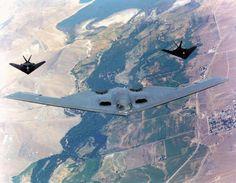 The Northrop Grumman Spirit with 2 Lockheed Nighthawks Military Jets, Military Life, Military Aircraft, Stealth Aircraft, Stealth Bomber, Deep English, 2 Spirited, Air Machine, Base Image