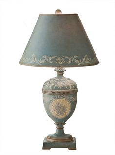 """Vintage Style Blue Tole Table Lamp French Country Shabby Cottage Chic- 27.5""""H #FrenchCountry"""