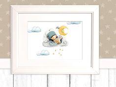 """Kinderbild """"Wolken"""" Poster (Geschenk Geburt Taufe) von Pipapier auf DaWanda.com"""