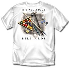 all about billiards white adult t shirt by coed sportswear