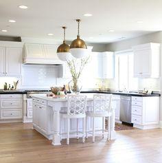 White and Gold Kitchen, Transitional, Kitchen brass hicks pendants Maple Floors, White Oak Floors, Modern Wood Floors, Hardwood Floors, Oak Flooring, Flooring Ideas, Engineered Hardwood, Kitchen Dining, Kitchen Decor