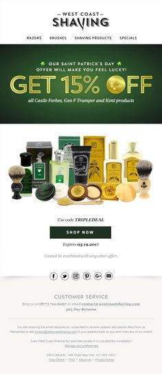 Get 15% OFF all Castle Forbes, Geo F Trumper and Kent products for St. Patrick's Day. Shop now!  CLIENT: West Coast Shaving Built by: Mark Nayve   SellUP