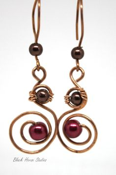 Orbital Earrings - copper and glass pearls.