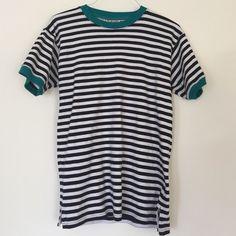 ⚡️FLASH SALE TODAY ONLY⚡️Striped Ringer Tee 100% cotton ringer tee in black and white stripes with teal trim on neck and sleeves. Re-posh but I never ended up wearing it. Size M but could also fit a large (runs a little big). Rafaella Tops Tees - Short Sleeve