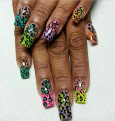 Neon Nail Art, Neon Nails, Love Nails, Art Nails, Beach Nails, Long Acrylic Nails, Mani Pedi, Designed Nails, Health And Beauty