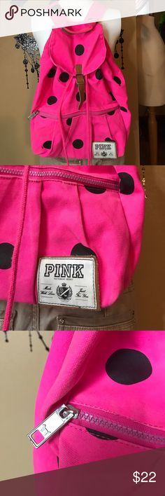 PINK Victoria's Secret back pack Bright pink with black spots- super cute drawstring back pack. Use as an overnight bag, gym bag, book bag. So many uses! Gets an 8.5 out of 10 for a few minor signs of wear such as dingy spots. Nothing major & looks really nice over all. Draws closed, & you can pull the faux leather through the buckle if wanted too. Straps adjustable. Bundling is fun; check out my other items! No price talk in comments. No trades or holds. NO SPAM. PINK Victoria's Secret Bags…
