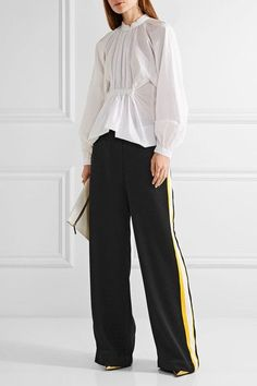 Ellery - Reality Stretch Knit-trimmed Satin-crepe Wide-leg Pants - Black - UK14
