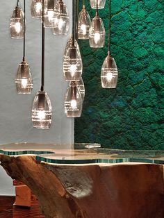 Lobby lighting at The Alpina Gstaad, Switzerland, interior designed by HBA/Hirsch Bedner Associates