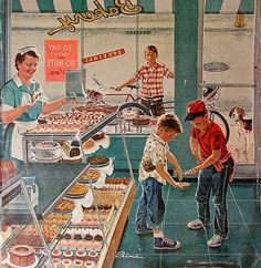 Saturday Evening Post - Doughnuts for Loose Change (Ben Kimberly Prins) Vintage Advertisements, Vintage Ads, Vintage Prints, Vintage Posters, Vintage Soul, Vintage Paintings, Art Posters, Vintage Paper, Images Vintage